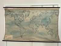 Vintage 1961 Linen School Map of the World Air Pressure Belts and Winds January