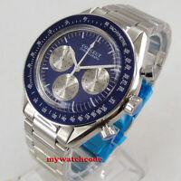 40mm corgeut blue dial steel bracelet quartz full chronograph mens watch C177