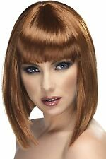 Smiffy's Glam Blunt Wig with Fringe - Brown