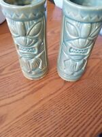 Set of 2 Green and Gold Colored Ceramic Tikis in Mint Condition.