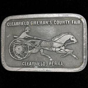 Clearfield County Fair Firemans Fireman Parade Pennsylvania 80s Vtg Belt Buckle