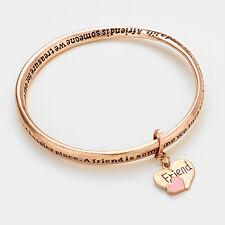 Friend Bracelet Heart Charm Twisted Bangle BURNT ROSE Friendship Gift Message
