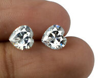 4.30 Ct White Sapphire Natural Heart Shape Gemstone Matching Pair AGSL Certified