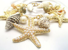 Ocean Multi Starfish Sea Star Conch Shell Pearl Chain Beach Bracelet Trendy
