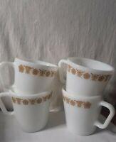 Vintage  Pyrex Golden Butterfly Gold Milk Glass D-Handle Coffee  Mug Cups 4 set