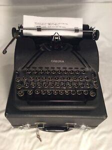 Vintage 1941 Smith Corona Sterling Portable Typewriter-Case,Key,Very Nice Clean