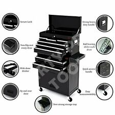 LARGE 8 DRAWER TOOL CHEST ROLLER CABINET WHEELS TOP BOX WITH FREE DIVIDER