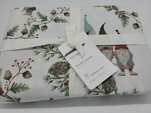 Pottery Barn Forest Gnome Organic Percale Duvet Cover Full/Queen