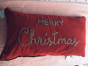 BRAND NEW MERRY CHRISTMAS RED VELVET/PLAID OBLONG PILLOW
