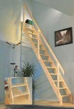 Miller Space Saving Loft Staircase + Balustrade kit, Spruce Wood (SPAIN model)