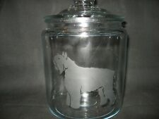 New Etched Bouvier Des Flandres Glass Cookie Candy Treat Storage Jar Canister