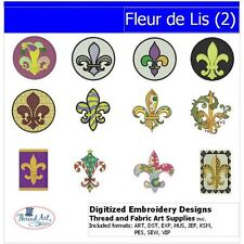 Embroidery Design CD - Fleur-de-Lis(2) - 12 Designs - 9 Formats - Threadart