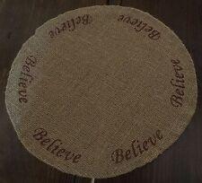 Burlap Believe  Table Mat - Candle Mat New Rustic Primitive Decor