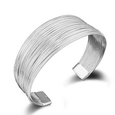 Bangle Cuff Bracelet Wristband Gift Vintage 925 Silver Plated Multilayers