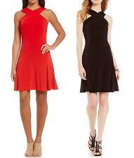 NWT $99.50 MICHAEL KORS Halter Cross-Over Neck A-Line Dress Red or Black