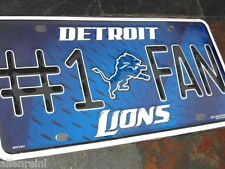 "1 Detroit Lions ""#1 Fan"" Metal License Plate"