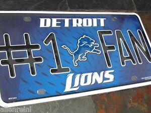 "1 Detroit Lions ""#1 Fan"" Metal License Plate"