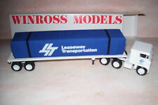 Leaseway Flat Bed With Cloth Cover Load Winross Diecast Delivery Trailer Truck