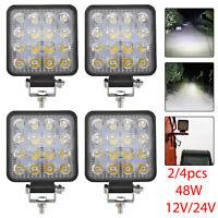 2/4 pcs 48W LED Work Lights Fog Lamp Offroad Car Truck Jeep SUV Lights 12V/24V