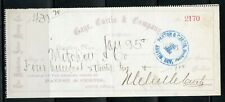 US THE PAXTON & CURTIS, BANKERS OF AUSTIN, NEVADA CANCELLED CHECK 1/25/1886