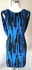 JAY GODFREY DRESS BLUE/BLACK ART DECO PRINT DRAPED BACK JERSEY 100% SILK 6 NWT