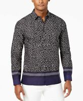 INC Mens Black US Size 3XL Leopard Geo Print Woven Button Down Shirt $65 #186