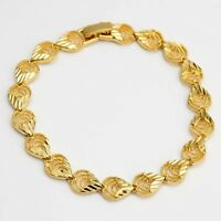 """Women's Bracelet 7.3"""" Chain 18K Yellow Gold Filled 7mm Charms Link New"""