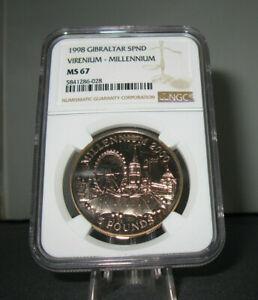 1998 Gibraltar £5 Five Pound Millennium London Virenium Coin Slabbed