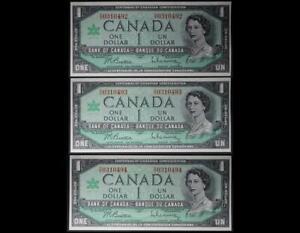 $1 1967 Bank of Canada Centennial Set of 3 Crisp Unc Consecutive Serial Notes NR