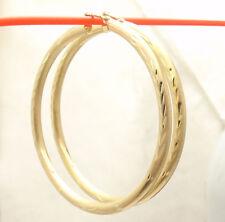 "2"" 3mm X 50mm Large Diamond Cut Hoop Earrings REAL 10K Yellow Gold 3.3gr"