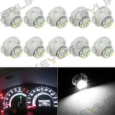 10 x T5 Neo Wedge White LED Bulbs 12mm 12V 3-SMD Dash A/C Climate Control Light