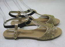 Summer Gold Open Toe Silver Spikes/Stud Sexy Cool Shoes Sandals Size 6.5