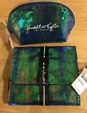 Kendall + Kylie Blue Iridescent Hanging Beauty Case & Makeup Pouch ~ Bundle