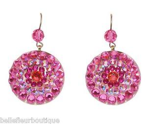 Tarina Tarantino Mandala Pink Swarovski Crystal Pierced Earrings Made in USA