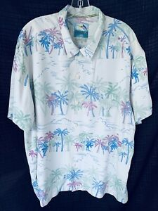 Tommy Bahama Mens 100% Silk Collared Button Up Shirt XXL FLORAL Tropical PKT