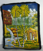 "17"" Oil Haiti Painting on Canvas Signed Lores Folk Art Tropical Landscape"