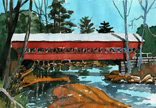 Swift River Covered Bridge, Conway NH. Colorful watercolor landscape notecards