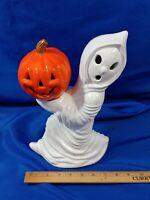 "70s Halloween Ceramic Mold Pumpkin Ghost Jack O Lantern VTG Pumpkin 12"""