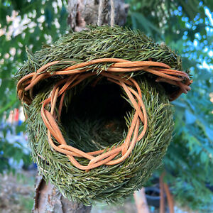 Birds Nest Natural Grass Weaved Egg Cage Outdoor Decor Hanging Parrot House AU