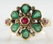 LARGE 9K 9CT GOLD RUBY COLOMBIAN EMERALD DIAMOND ART DECO INS CLUSTER RING