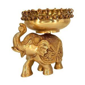 "Brass Large Size Traditional Urli On Elephant with Bells Idol Statue Figurine 7"""