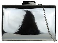 Ladies Vintage Glossy Hard Case Clutch Bag Patent Design Evening Party Wedding