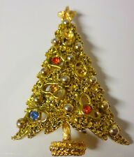 Vintage Signed ART Christmas Tree Color Rhinestone Pin Brooch RARE
