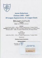JAMES ROBERTSON CHELSEA 1905-1907 EXTREMELY RARE ORIGINAL SIGNED CUTTING/CARD