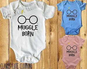 MUGGLE BORN HARRY POTTER BABY VEST/ GROW WHITE AVAILABLE IN MOST SIZE