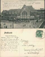 Ansichtskarte Aachen Hauptbahnhof, Autos 1906