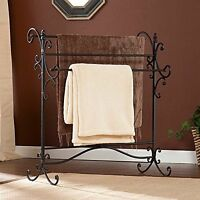 Southern Enterprises Scroll 3 Blanket Rack Black with Bronze Rub Through Finish