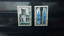 lot 2 Timbres France 12f Jumièges 30f Tournus 1954