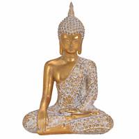 Buddha Figur Statue Dekofigur Feng Shui Garten Budda Skulptur sitzend Gold 32 cm
