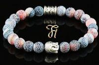 Achat rot bunt Armband Bracelet Perlenarmband Buddhakopf silber 8mm